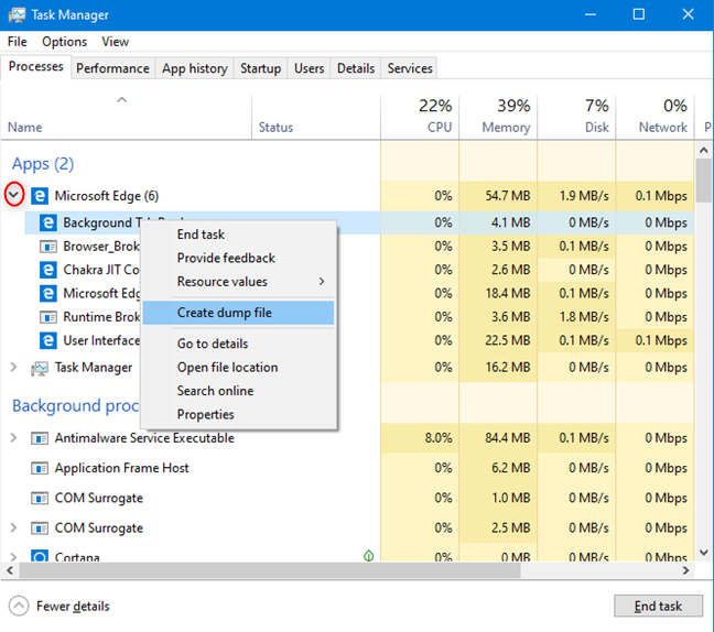 Expand an app or a process in Task Manager