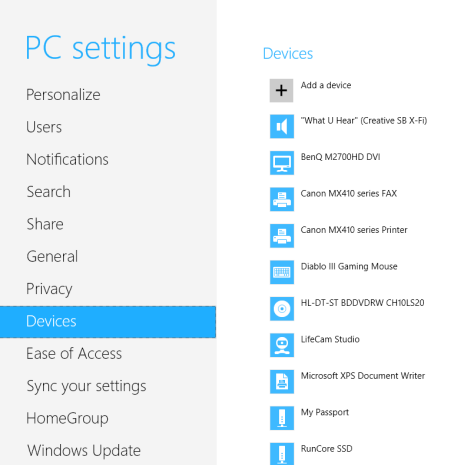 How to Add or Remove Devices from PC Settings, in Windows 8