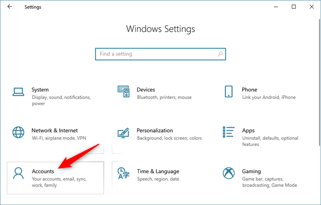The Accounts category of Windows 10 Settings