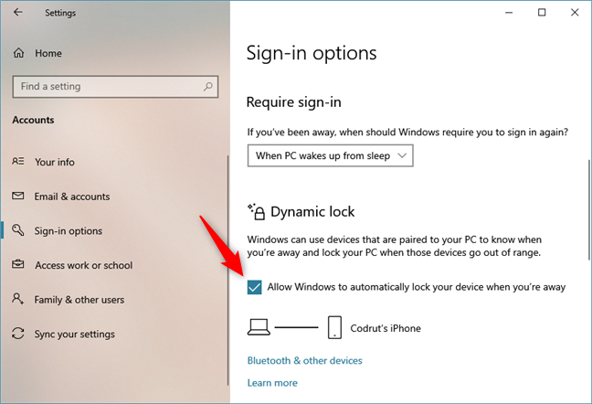 Allow Windows to automatically lock your device when you're away