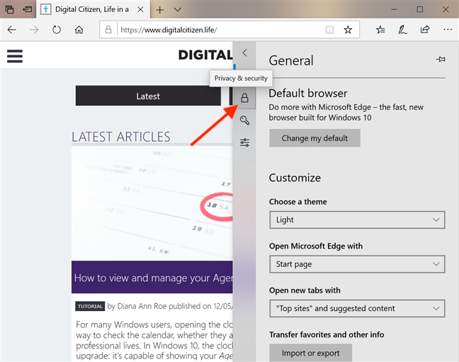 Go to Privacy & security in Microsoft Edge