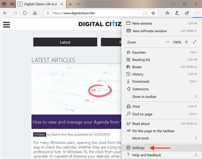 Access the Settings in Microsoft Edge