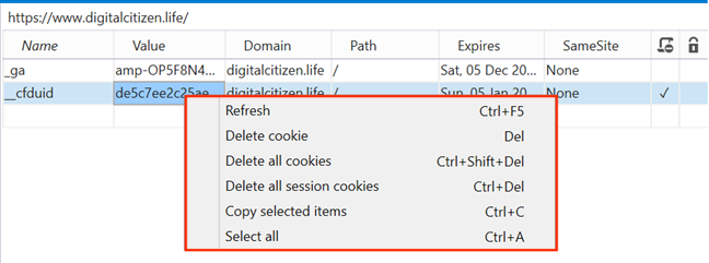 Open a contextual menu for the cookie you want to delete