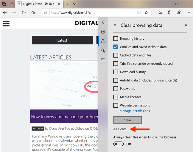 Microsoft Edge lets you know when it is done clearing data