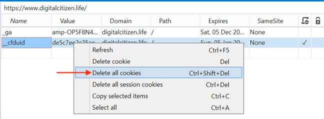 Delete all cookies clears all cookies for that web page