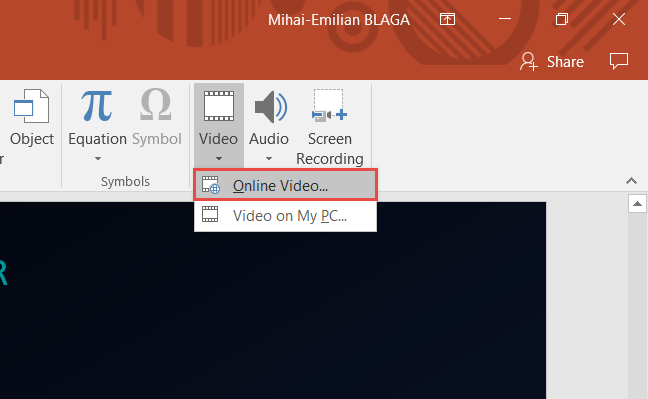 PowerPoint, Embed, video
