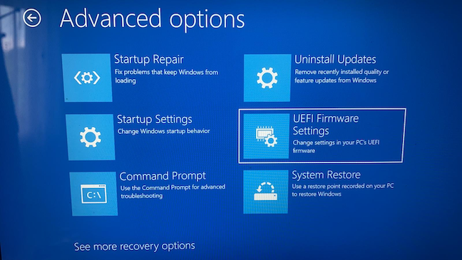 Access UEFI Firmware Settings