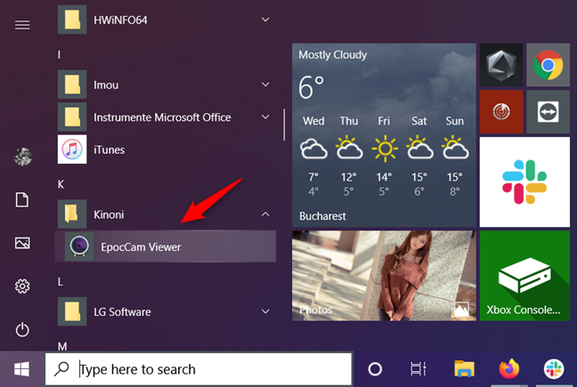 EpocCam Viewer shortcut on the Start Menu