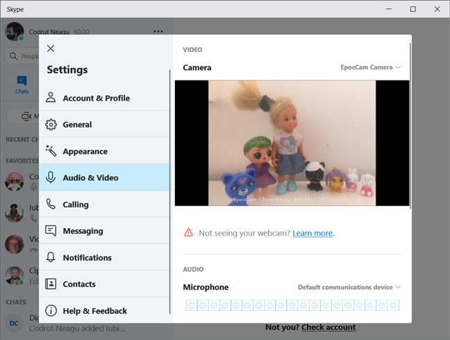 Using an iPhone as a webcam in the Windows 10 Skype app