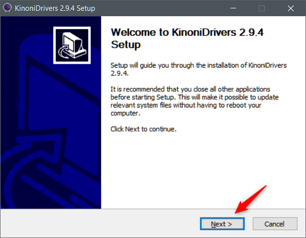 Running the driver installation wizard