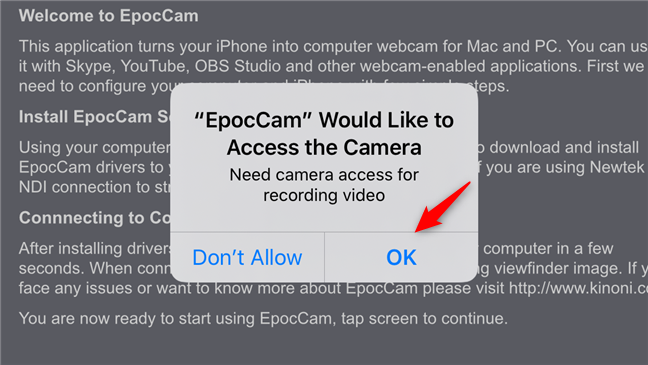 Allowing EpocCam to access the camera on an iPhone