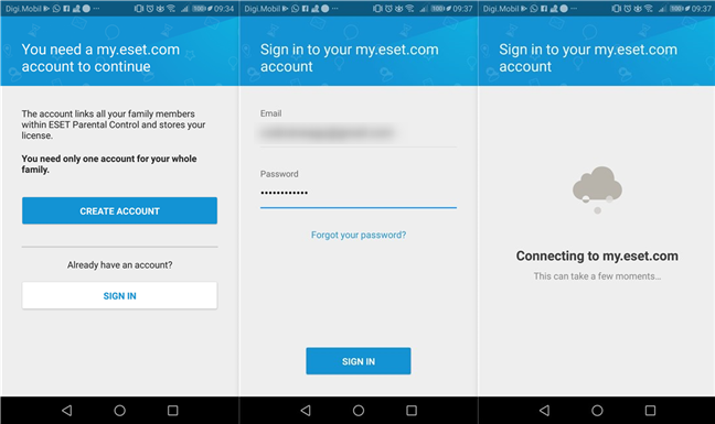 Signing into an ESET account