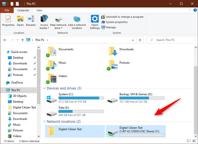 The mapped network drives are shown in File Explorer