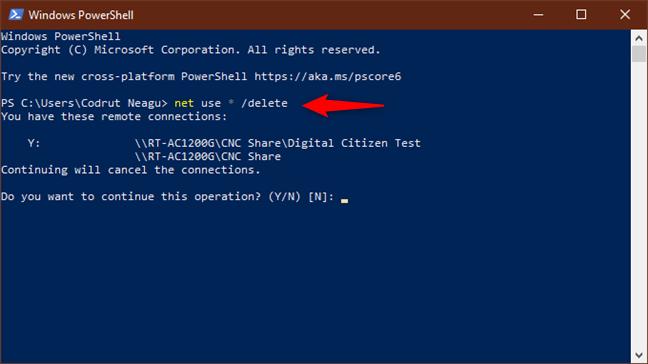 Ejecutando la red use * / delete para eliminar todas las unidades de red asignadas