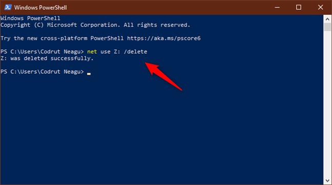 Ejecutar net use / delete para eliminar una unidad de red asignada