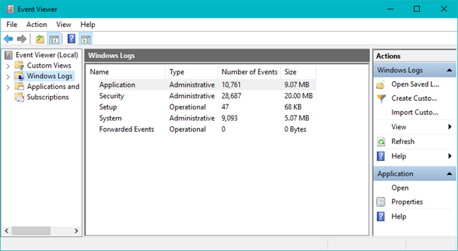 Event Viewer, Windows