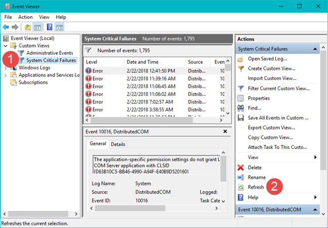 Event Viewer, Windows, custom views