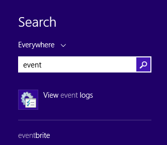 Windows, Event Viewer, shortcut