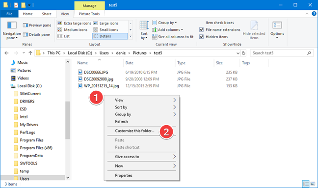 Open Customize this folder in File Explorer