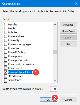 Select an extra field to show in the Details view of File Explorer