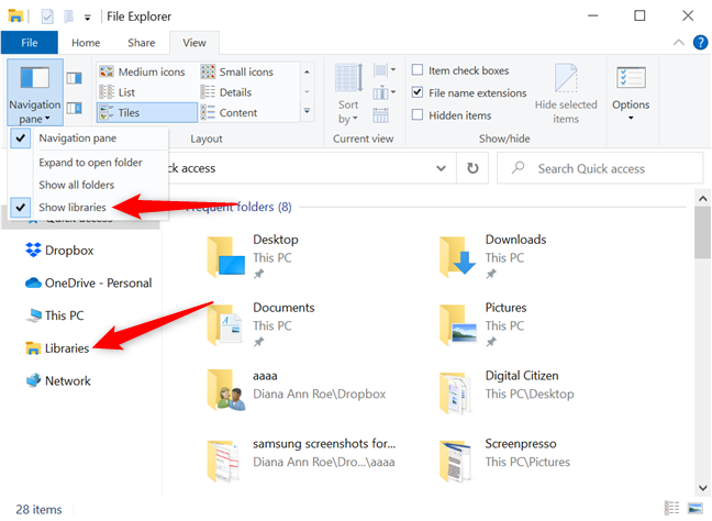 The Windows 10 libraries are enabled, as indicated