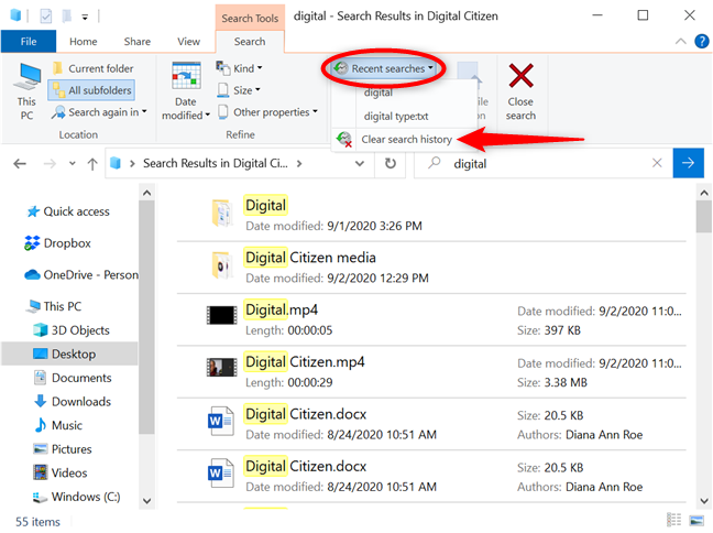 Clear your File Explorer search history