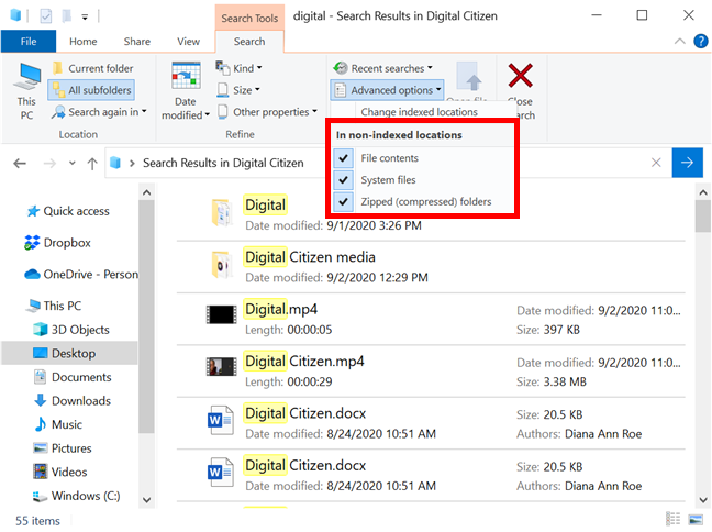 Decide how Windows 10's File Explorer searches non-indexed locations