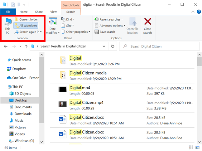Use the Location section from File Explorer's Search tab