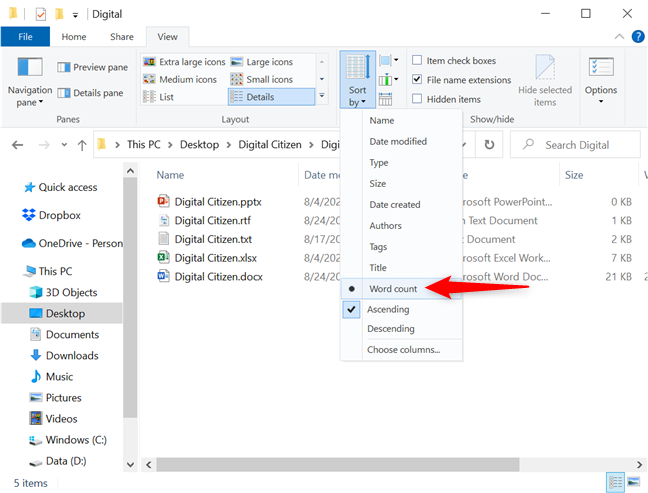 Selecting the new sorting option rearranges your files