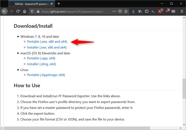 Los enlaces de descarga para FF Password Exporter