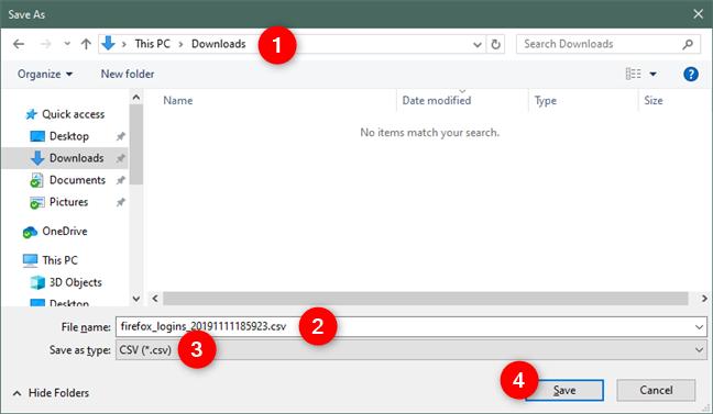 Seleccionar la ubicación, el nombre y el tipo del archivo de contraseñas