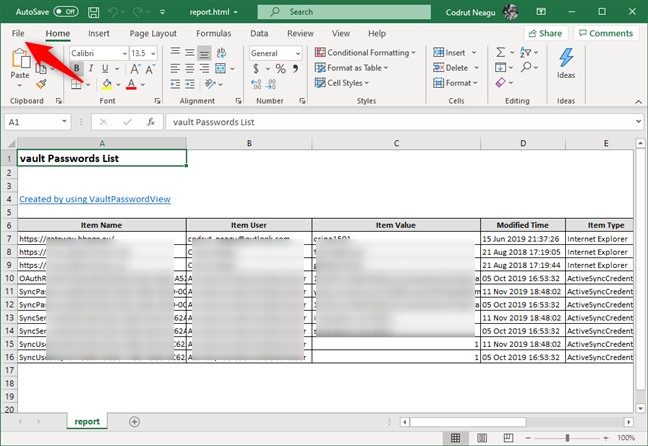Opening the HTML passwords file with Microsoft Excel
