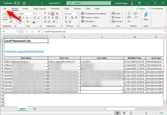 Abrir el archivo de contraseñas HTML con Microsoft Excel