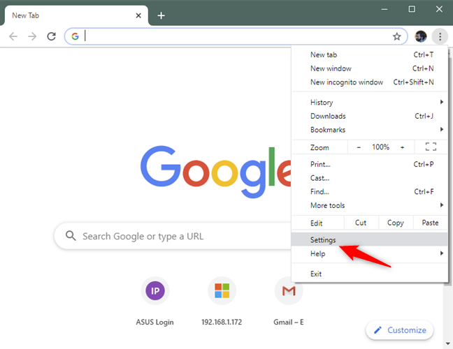 The Settings option from Chrome's menu