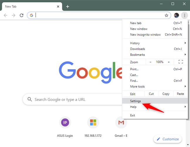 La opción de configuración del menú de Chrome