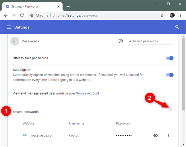 The additional settings button from the Saved Passwords section