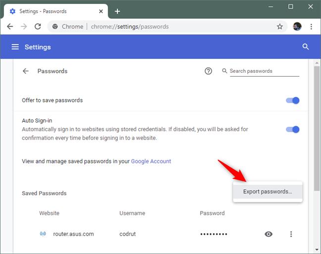 The Export passwords option