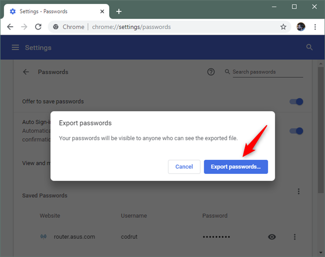 Confirming that you want to export passwords from Chrome