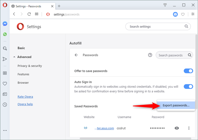 The Export passwords option in Opera