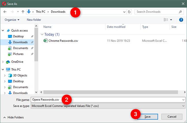 Elegir una ubicación, un nombre y un tipo de archivo para el archivo Opera Passwords