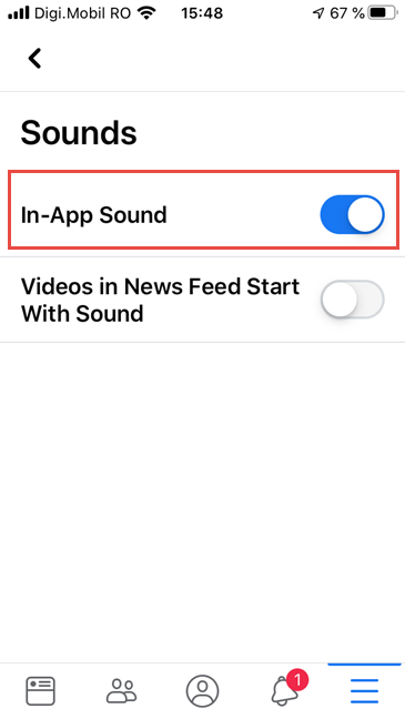 Facebook for iPhone - Disable In-App Sounds