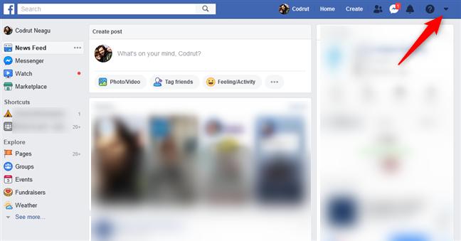 Abrir las opciones de Facebook
