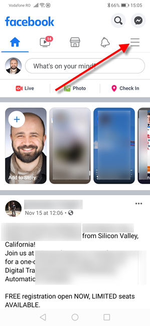 Facebook for Android - Tap the Menu button