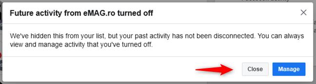 Se ha desactivado la actividad futura de un sitio web