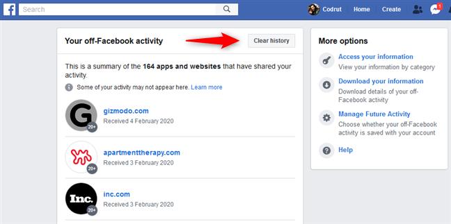 El botón Borrar historial de tu actividad fuera de Facebook