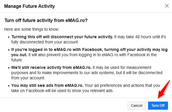 Confirming that you want to turn off future activity from an app or website