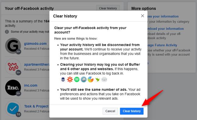 Confirmando que quieres borrar tu historial fuera de Facebook