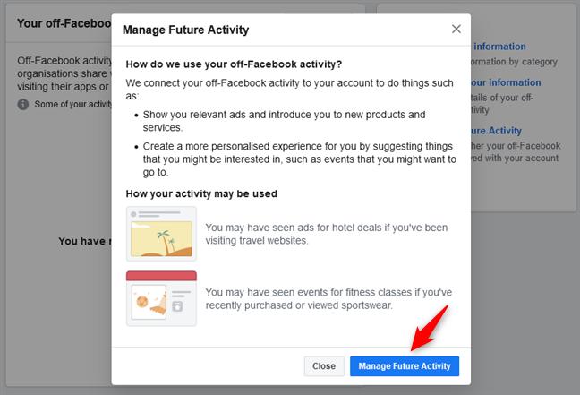 Elegir gestionar la actividad futura