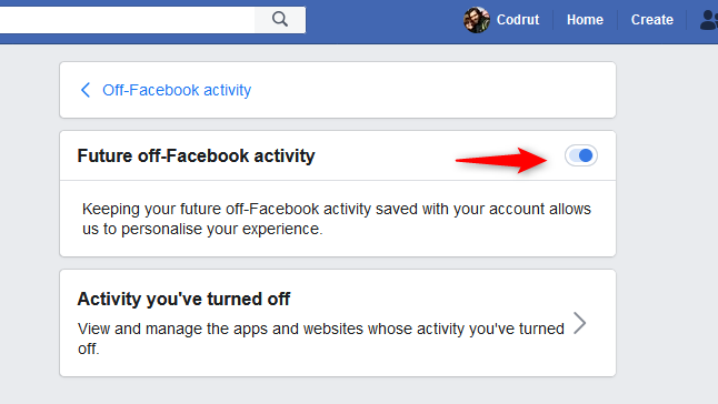 Turning off the Future off-Facebook activity switch