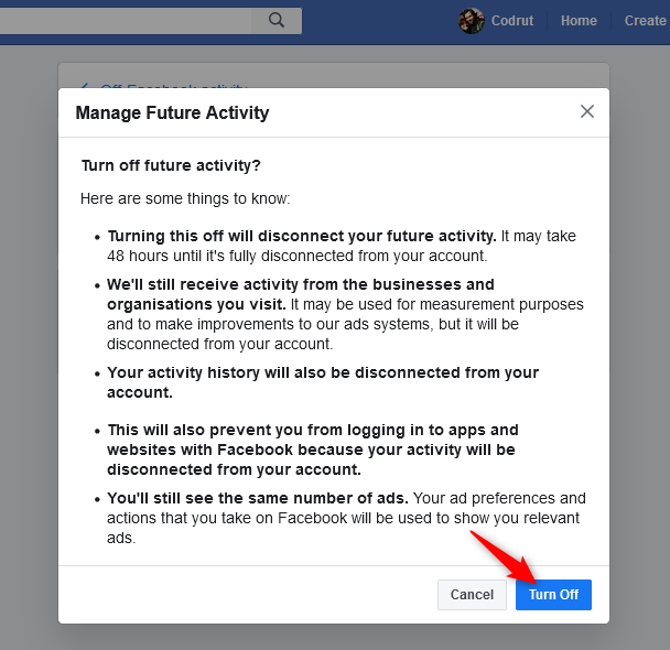 Confirming that you want to turn off the future off-Facebook activity